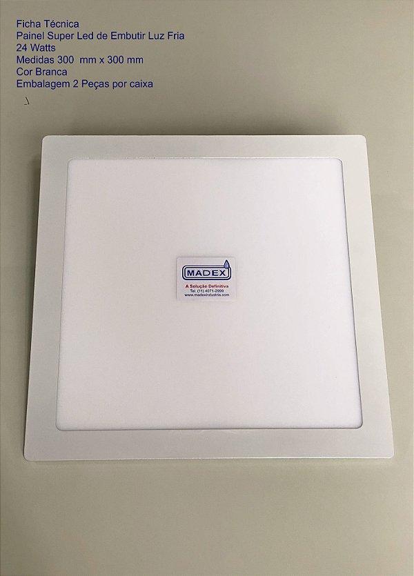 Painel Super Led de Embutir Luz Fria 24 Watts ( Quadrada )