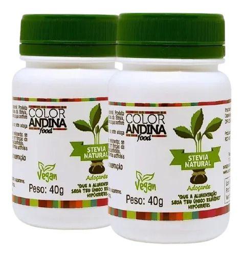 Kit Com 2 Adoçante Stevia Em Pó 40g Color Andina