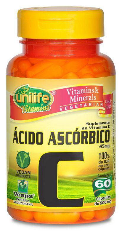 Ácido Ascórbico Vitamina C 60 Cápsulas Unilife