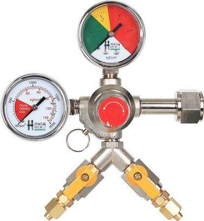 Regulador de pressão para chopp 2 saídas com válvula e manômetro