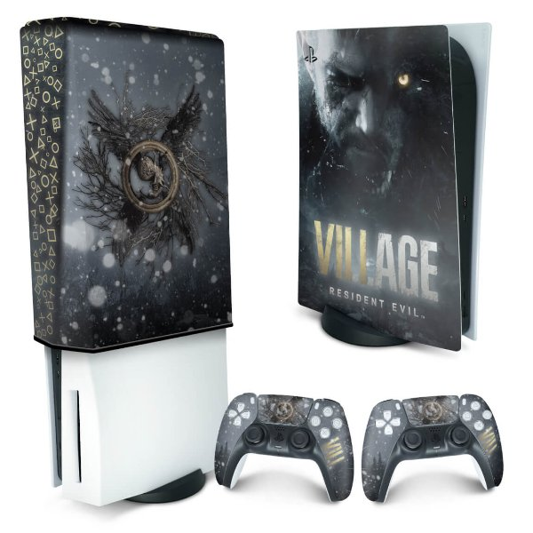 KIT PS5 Skin e Capa Anti Poeira - Resident Evil Village