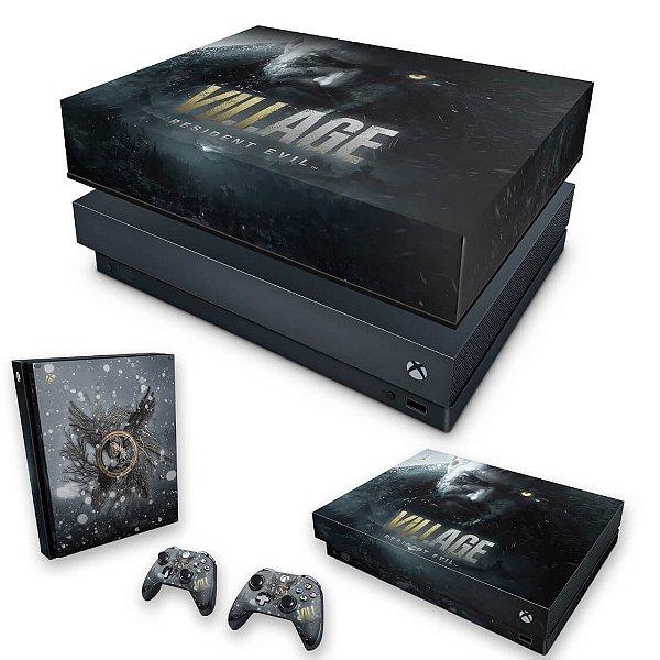 KIT Xbox One X Skin e Capa Anti Poeira - Resident Evil Village