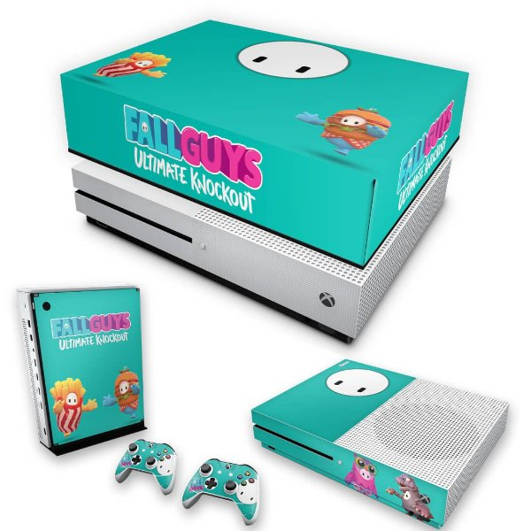 KIT Xbox One S Slim Skin e Capa Anti Poeira - Fall Guys
