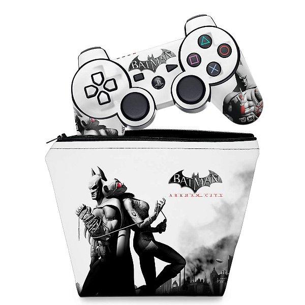 KIT Capa Case e Skin PS3 Controle - Batman Arkham City