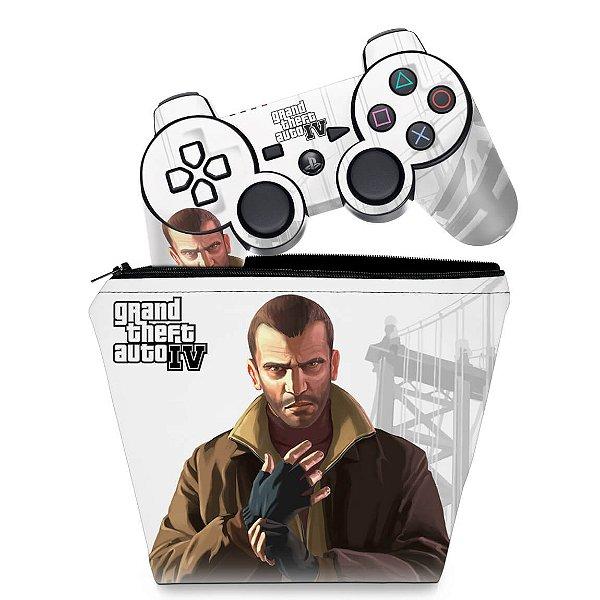KIT Capa Case e Skin PS3 Controle - Gta Iv
