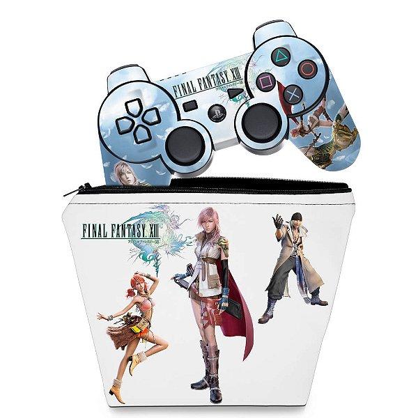 KIT Capa Case e Skin PS3 Controle - Final Fantasy Xiii #b