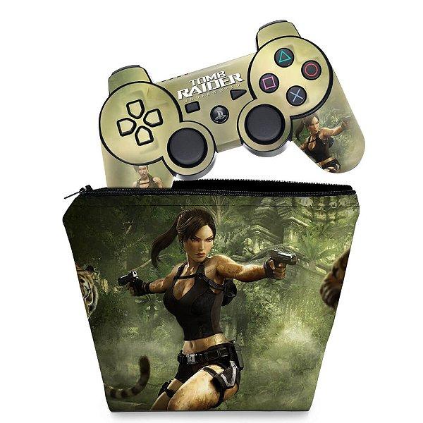KIT Capa Case e Skin PS3 Controle - Tomb Raider