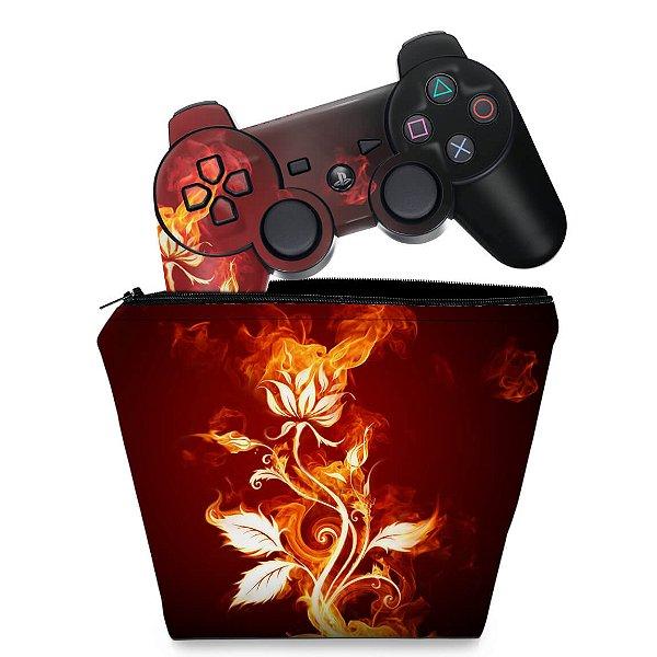 KIT Capa Case e Skin PS3 Controle - Fire Flower