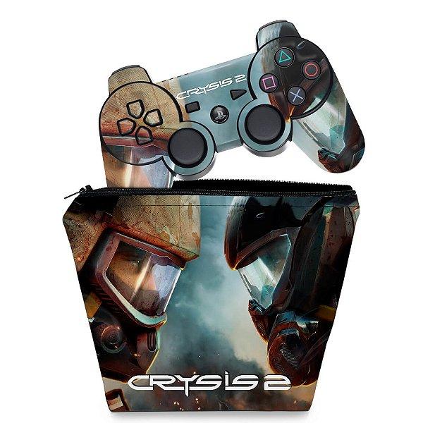 KIT Capa Case e Skin PS3 Controle - Crysis 2