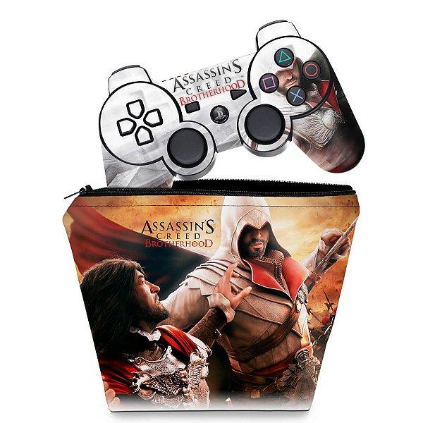 KIT Capa Case e Skin PS3 Controle - Assassins Creed Brotherhood #B