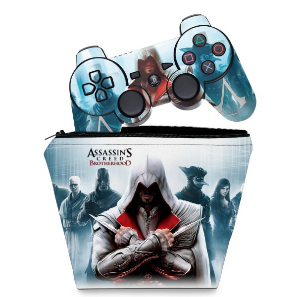 KIT Capa Case e Skin PS3 Controle - Assassins Creed Brotherhood #C