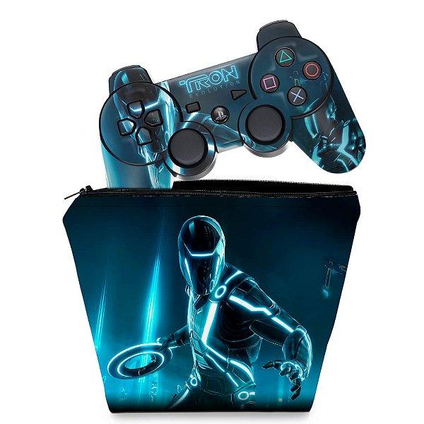 KIT Capa Case e Skin PS3 Controle - Tron Evolution