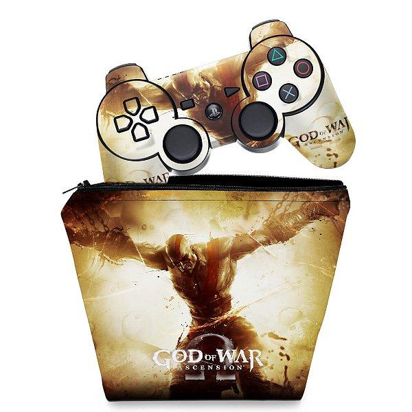 KIT Capa Case e Skin PS3 Controle - God Of War 4