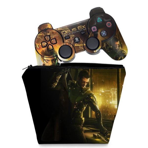 KIT Capa Case e Skin PS3 Controle - Deus Ex Human
