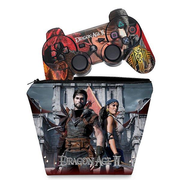 KIT Capa Case e Skin PS3 Controle - Dragon Age 2