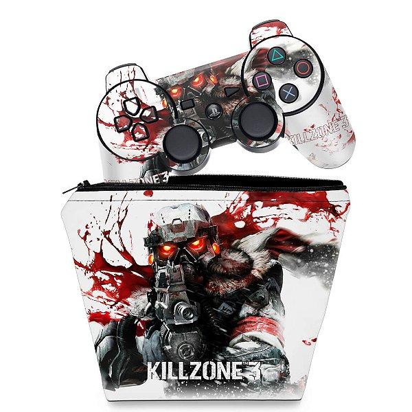 KIT Capa Case e Skin PS3 Controle - Killzone 3