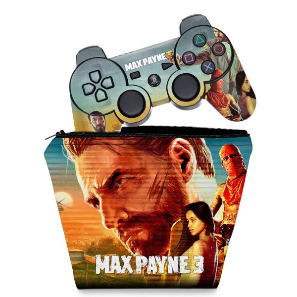 KIT Capa Case e Skin PS3 Controle - Max Payne 3
