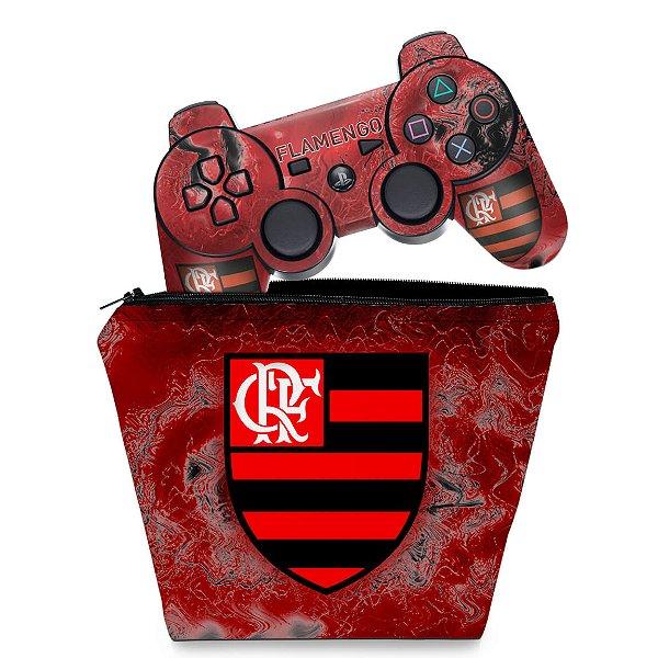 KIT Capa Case e Skin PS3 Controle - Flamengo