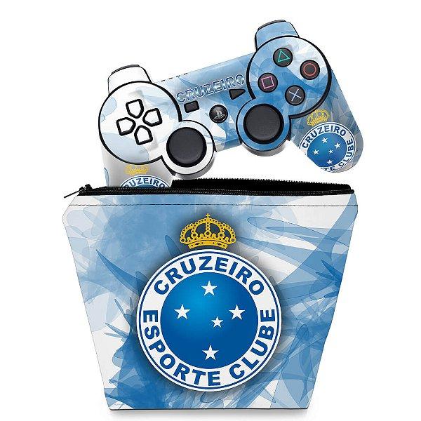 KIT Capa Case e Skin PS3 Controle - Cruzeiro