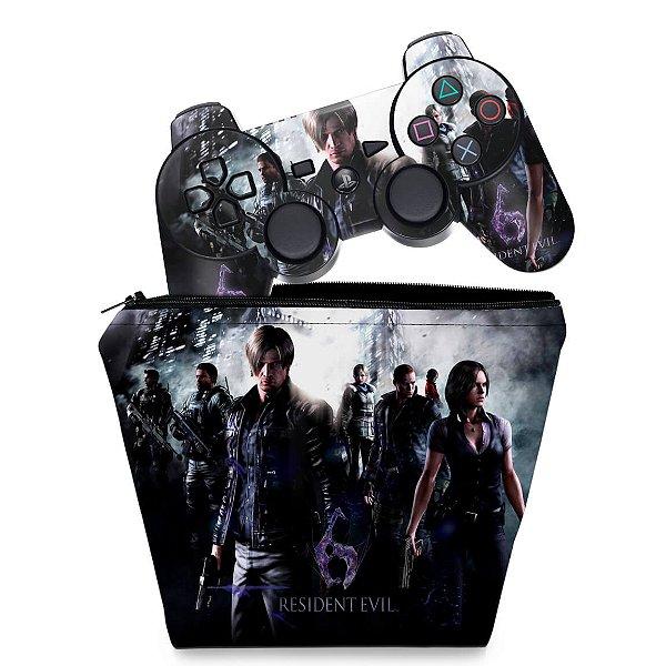 KIT Capa Case e Skin PS3 Controle - Resident Evil 6