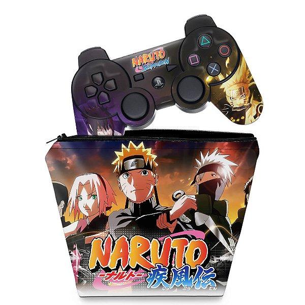 KIT Capa Case e Skin PS3 Controle - Naruto Akatsuki