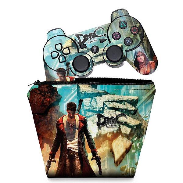 KIT Capa Case e Skin PS3 Controle - Dmc Devil May Cry