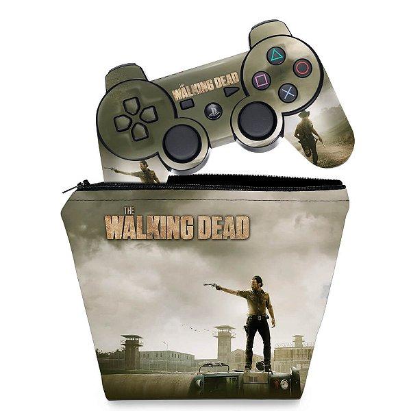 KIT Capa Case e Skin PS3 Controle - The Walking Dead