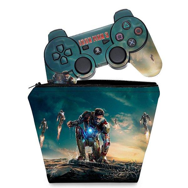 KIT Capa Case e Skin PS3 Controle - Homem De Ferro