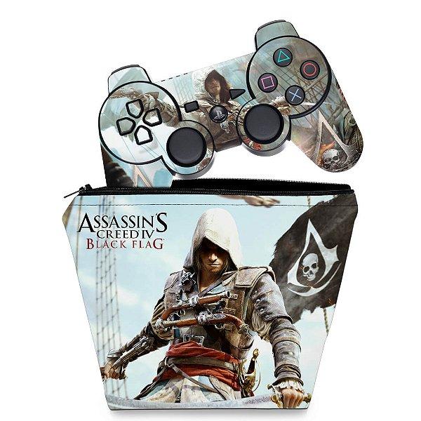 KIT Capa Case e Skin PS3 Controle - Assassins Creed IV Black Flag