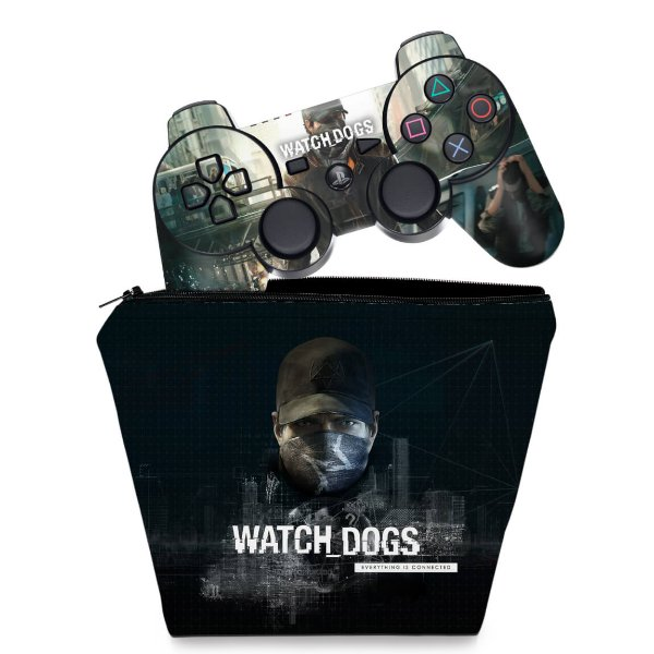 KIT Capa Case e Skin PS3 Controle - Watch Dogs