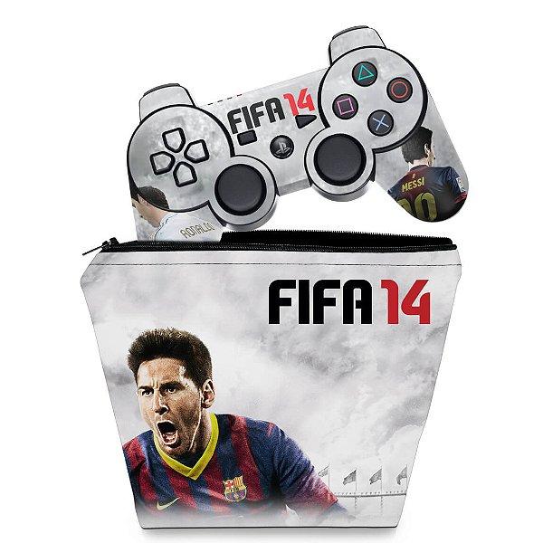 KIT Capa Case e Skin PS3 Controle - Fifa 14 2014