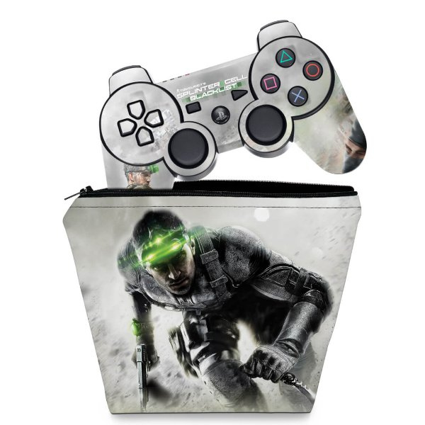 KIT Capa Case e Skin PS3 Controle - Splinter Cell Blacklist