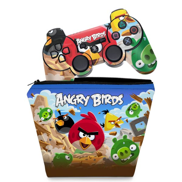 KIT Capa Case e Skin PS3 Controle - Angry Birds