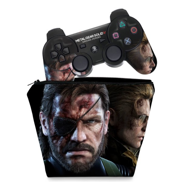 KIT Capa Case e Skin PS3 Controle - Metal Gear Solid V