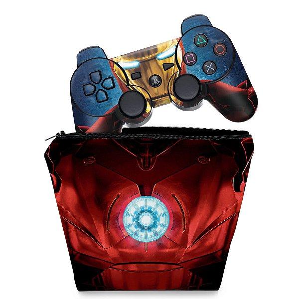 KIT Capa Case e Skin PS3 Controle - Iron Man