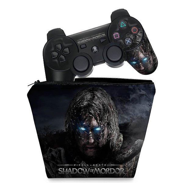 KIT Capa Case e Skin PS3 Controle - Shadow Of Mordor