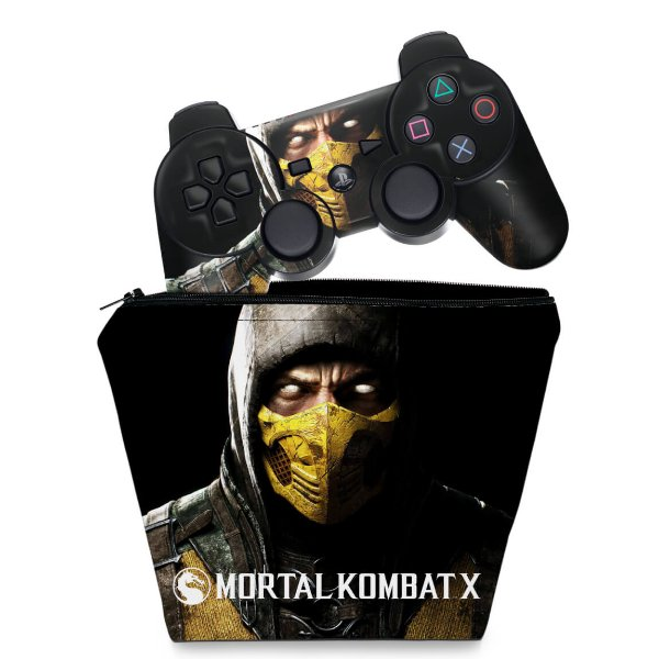 KIT Capa Case e Skin PS3 Controle - Mortal Kombat X Scorpion