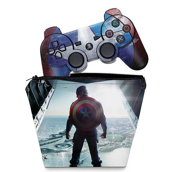 KIT Capa Case e Skin PS3 Controle - Capitão América