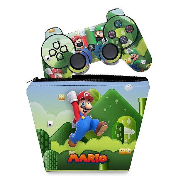 KIT Capa Case e Skin PS3 Controle - Mario & Luigi