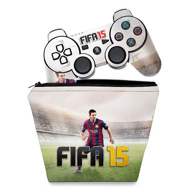 KIT Capa Case e Skin PS3 Controle - Fifa 15