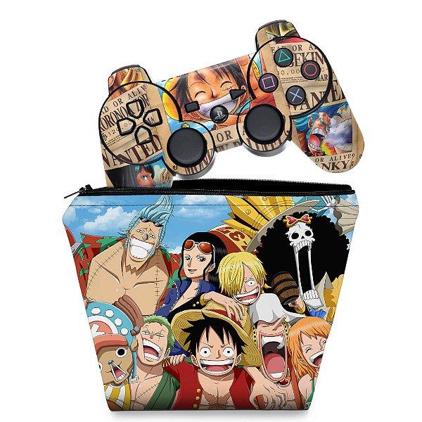KIT Capa Case e Skin PS3 Controle - One Piece