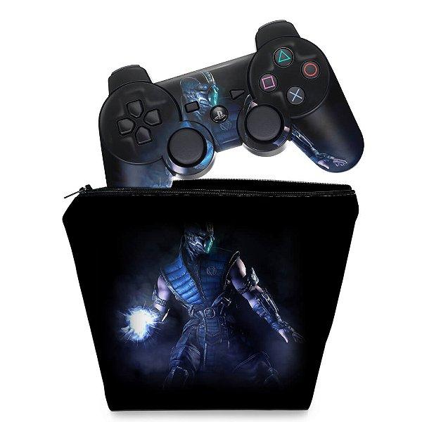 KIT Capa Case e Skin PS3 Controle - Mortal Kombat X Sub-zero
