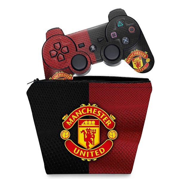 KIT Capa Case e Skin PS3 Controle - Manchester United