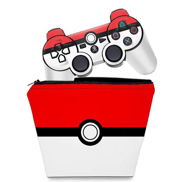 KIT Capa Case e Skin PS3 Controle - Pokemon Pokebola