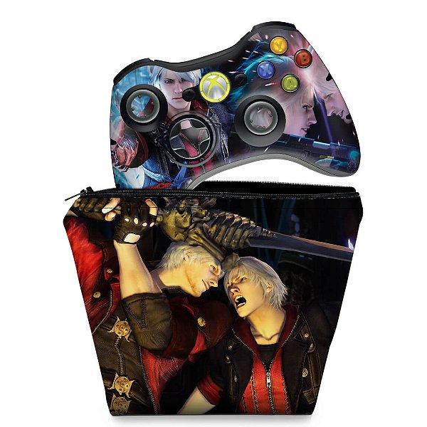 KIT Capa Case e Skin Xbox 360 Controle - Devil May Cry 4
