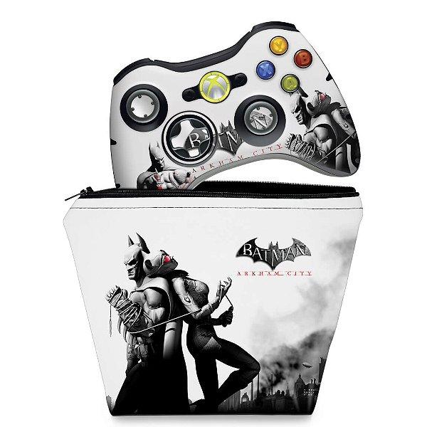 KIT Capa Case e Skin Xbox 360 Controle - Batman Arkham City