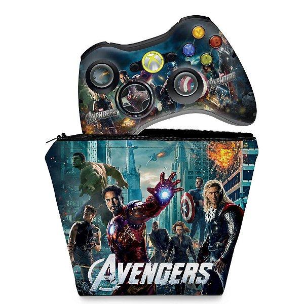 KIT Capa Case e Skin Xbox 360 Controle - Avengers Vingadores