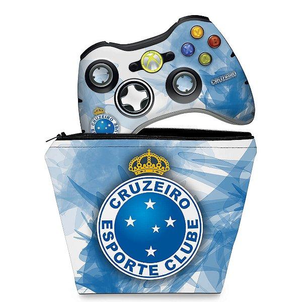 KIT Capa Case e Skin Xbox 360 Controle - Cruzeiro