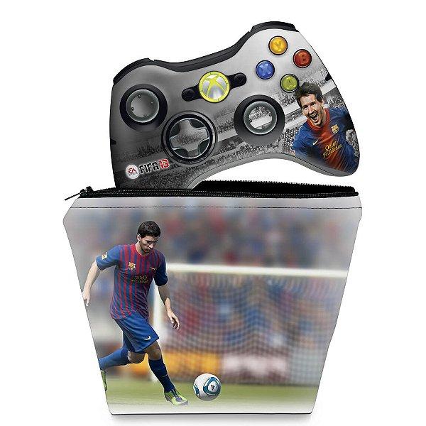 KIT Capa Case e Skin Xbox 360 Controle - Fifa 13