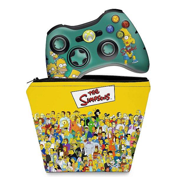 KIT Capa Case e Skin Xbox 360 Controle - Simpsons
